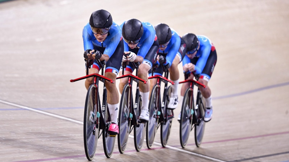 Canada's women's team pursuit racing on the velodrome