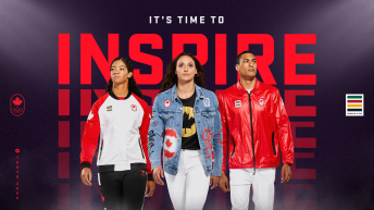 Sarah Douglas, Kylie Masse and Pierce LePage wearing Tokyo 2020 clothing kit in front of words It's time to inspire