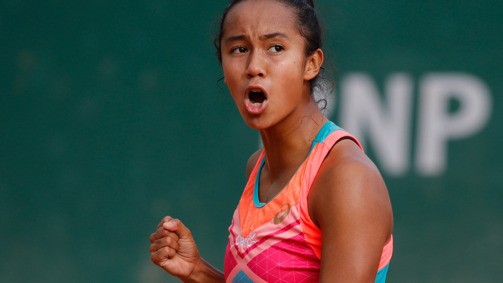 Leylah Annie Fernandez celebrates a victory at the French Open