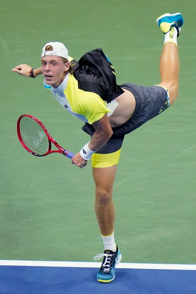 Denis Shapovalov, of Canada, serves to Pablo Carreno Busta, of Spain, during the quarterfinal round of the US Open tennis championships, Tuesday, Sept. 8, 2020, in New York. (AP Photo/Frank Franklin II)