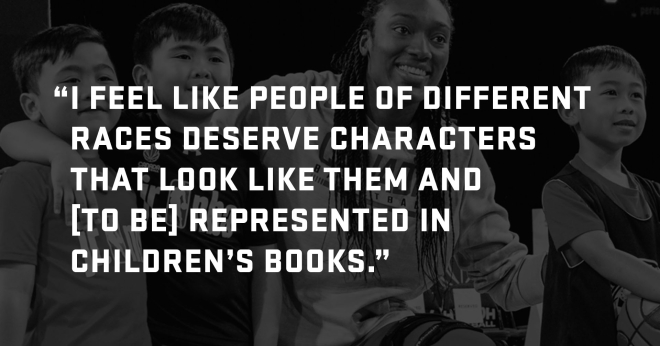Graphic that reads: I feel like people of different races deserve characters that look like them and [to be] represented in children's books