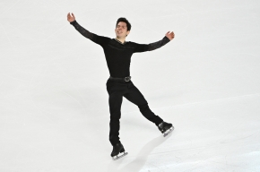 Keegan Messing skates in competition