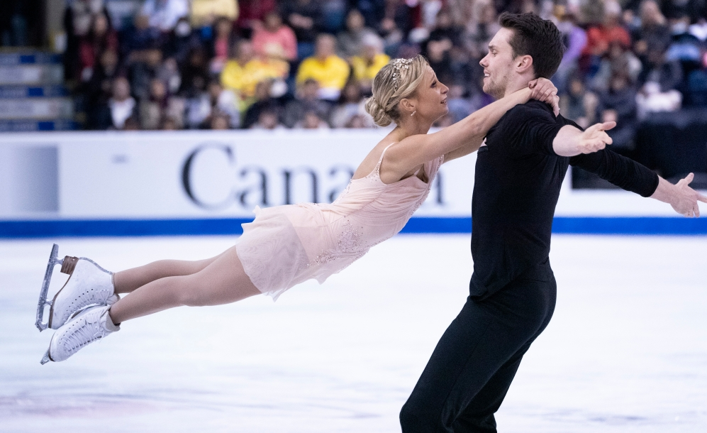 Kirsten Moore-Towers and Michael Marinaro compete at Skate Canada International