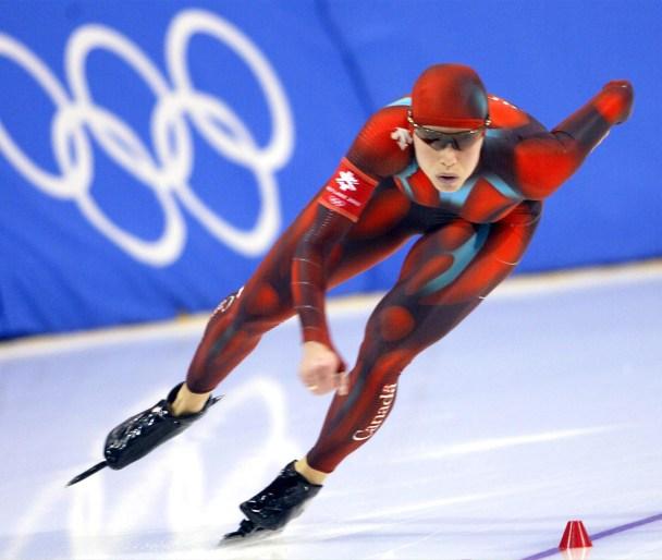Speed skater rounding a corner