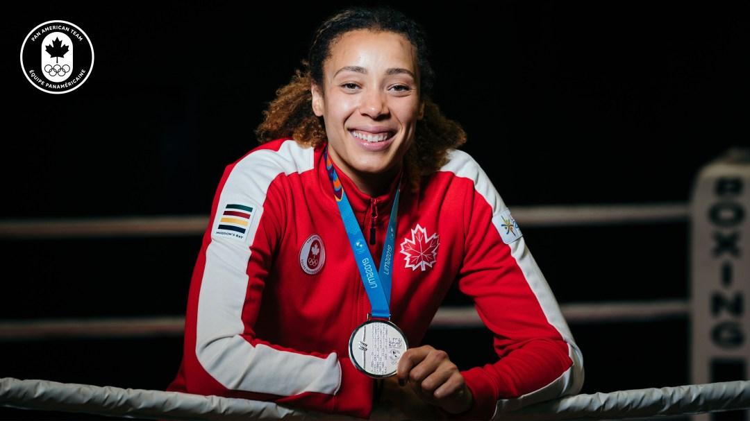 Tammara Thibeault wears silver medal
