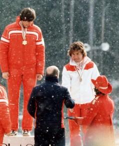 Steve Podborski receives medal at Lake Placid 1980 (photo: COC)