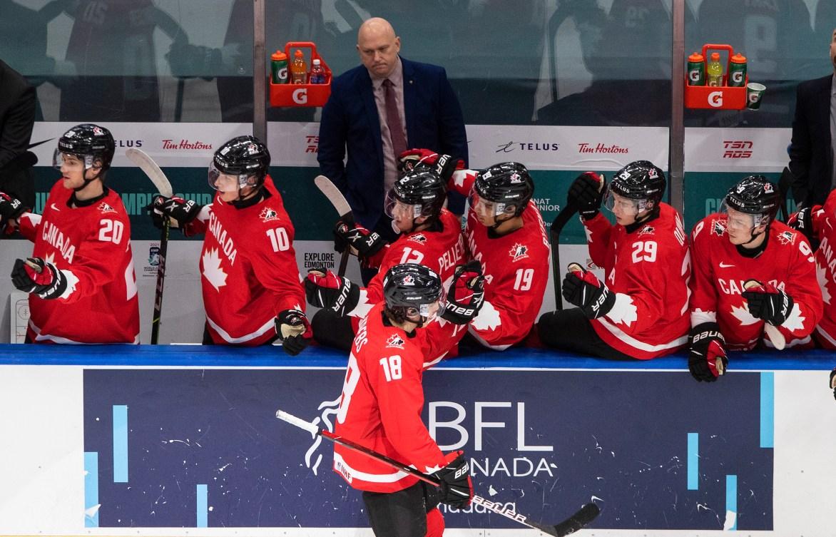 Hockey players celebrating a goal