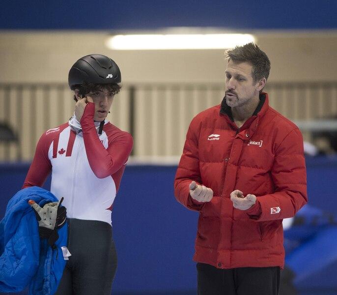 Marc Gagnon coaching skater