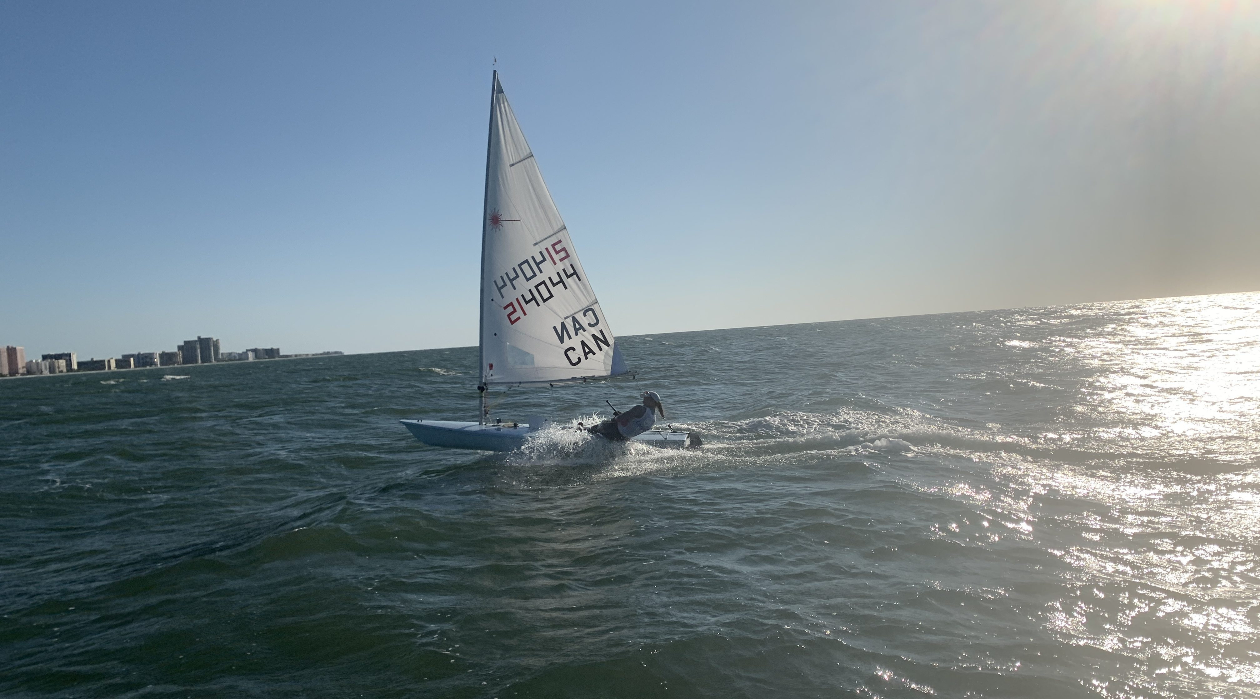 Wide shot of a sailor on the water