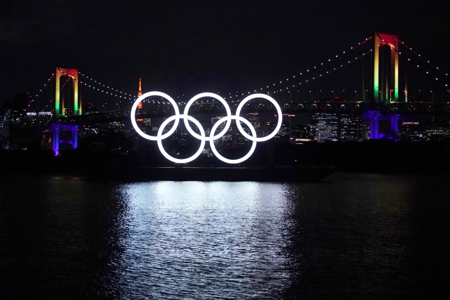 Olympic rings on the water in Tokyo