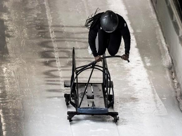 Cynthia Appiah pushing a monobob training sled