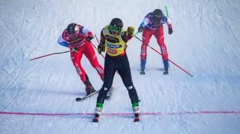 Ski crosses crossing the finish line