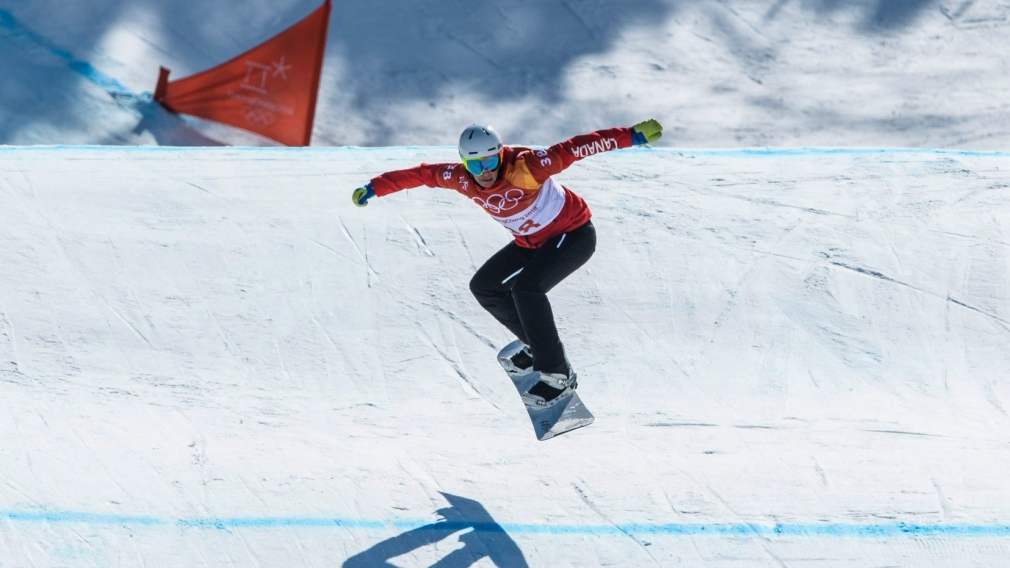 Eliot Grondin competes in action during the Snowboard Men's SBX at PyeongChang 2018 Olympics on February 15.