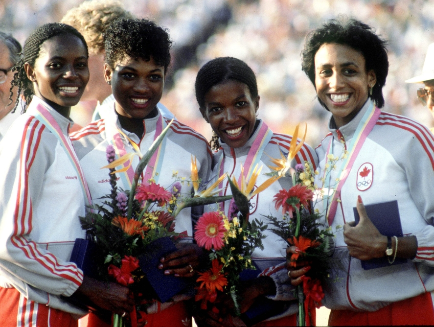 Four Canadian women on podium at Los Angeles 1984