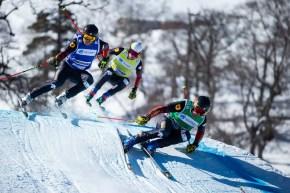 BAKURIANI,GEORGIA,27.FEB.21 - FREESTYLE SKIING - FIS World Cup, Ski Cross, ladies, men. Image shows Brady Leman (CAN), Jared Schmidt (CAN) and Christopher Delbosco (CAN). Photo: GEPA pictures/ Daniel Goetzhaber, via FIS SmugMug.