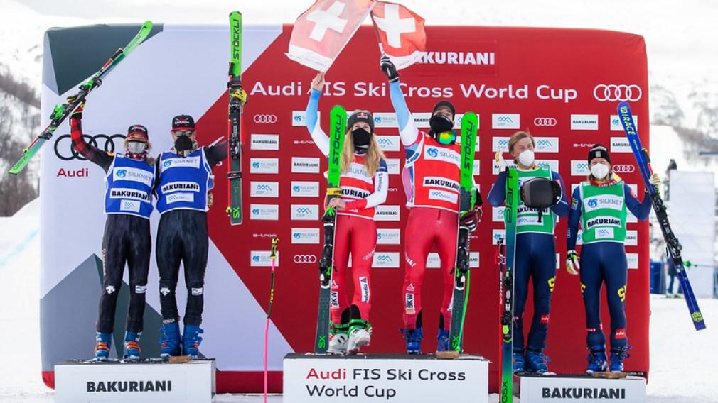 FIS World Cup, Ski Cross, ladies, men, award ceremony. Image shows the rejoicing of Courtney Hoffos, Christopher Delbosco (CAN), Fanny Smith, Jonas Lenherr (SUI), David Mobaerg and Sandra Naeslund (SWE)