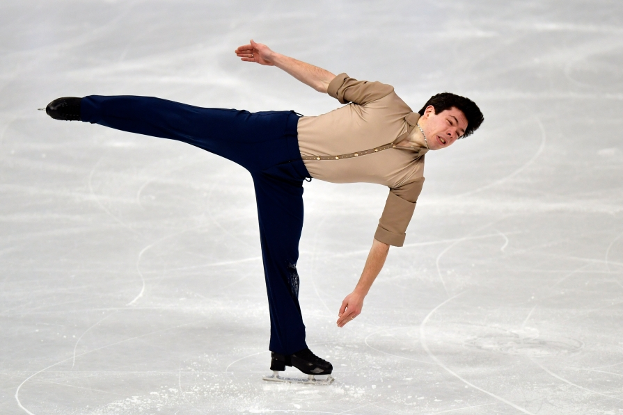 Keegan Messing of Canada performs during the Men Short Program at the Figure Skating World Championships in Stockholm, Sweden, Thursday, March 25, 2021.