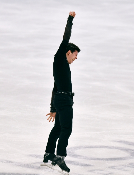 Keegan Messing of Canada performs during the Men Free Skating Program at the Figure Skating World Championships in Stockholm, Sweden, Saturday, March 27, 2021.