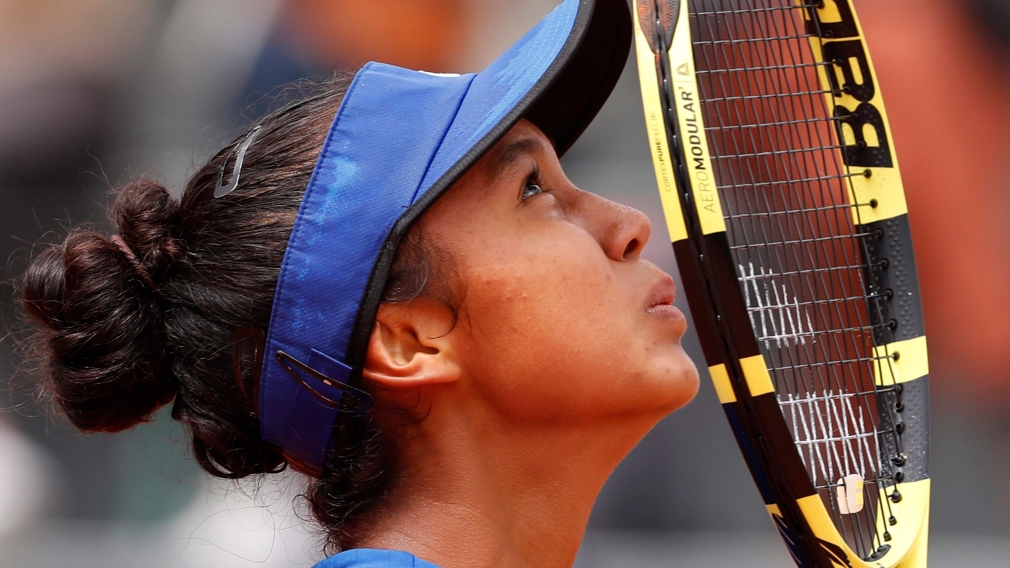 Canada's Leylah Annie Fernandez celebrates winning the junior women's final match of the French Open tennis tournament against Emma Navarro of the U.S. in two sets, 6-3, 6-2, at the Roland Garros stadium in Paris, Saturday, June 8, 2019.