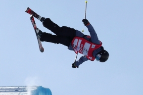 Silver medalist Canada's Rachael Karker performs in the Women's Freeski Halfpipe event at the FIS Freeski World Cup in Chongli county