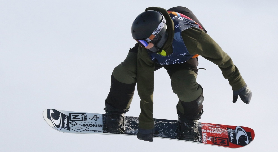 Men's bronze medalist Liam Brearley of Canada competes in the finals of the FIS Snowboard World Cup, Snowboard Slopestyle, in Calgary, Alta., Sunday, Feb. 16, 2020.
