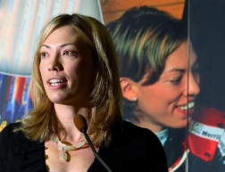 Olympic cross country skiing champion Beckie Scott speaks during a dinner honouring her career in her home town of Vermilion, Alta. Thursday August 24, 2006. A portion of Vermilion Provincial Park will be named Beckie Scott Nordic Ski Area in honour of Scott, who retired earlier this year. (CP PHOTO/Jason Scott)