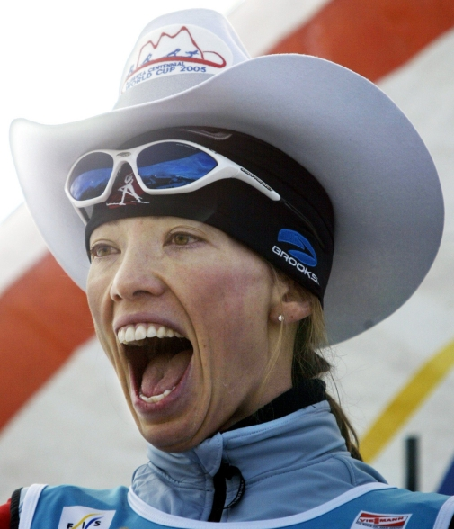 Beckie Scott, of Vermilion, Alta., wears a cowboy hat on the podium after placing second in the women's 10 km event at World Cup cross country skiing, in Canmore, Alta., Thursday, Dec. 15, 2005.(CP PHOTO/Jeff McIntosh)