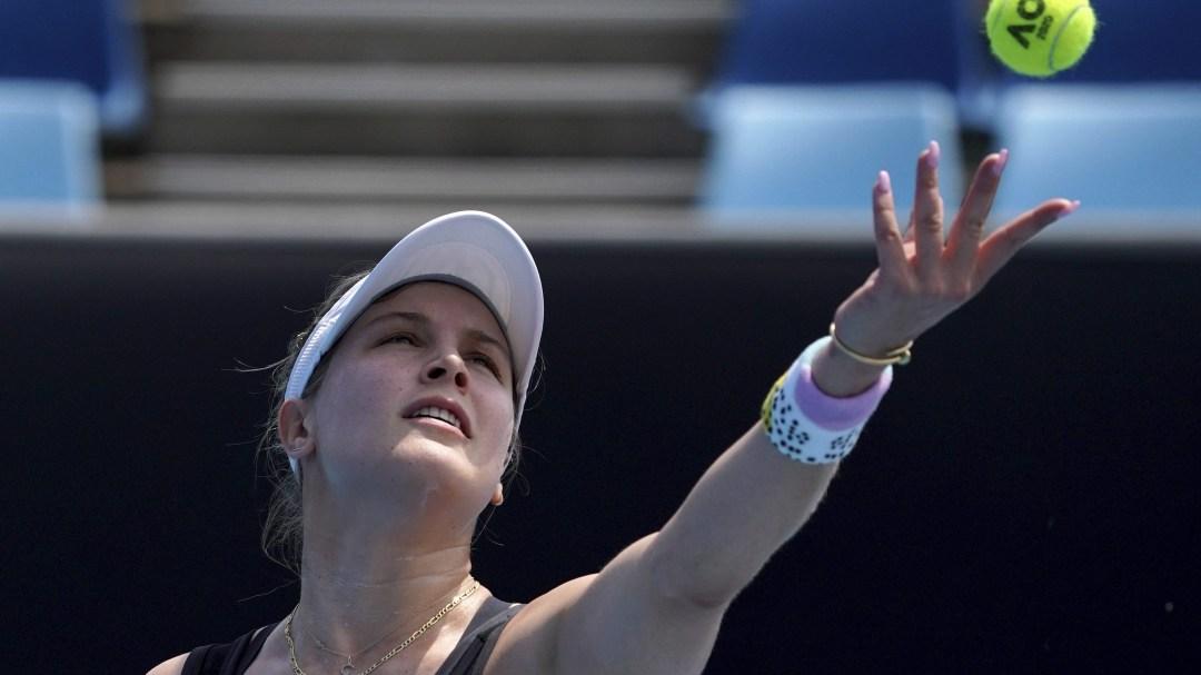Eugenie Bouchard serves in a tennis match