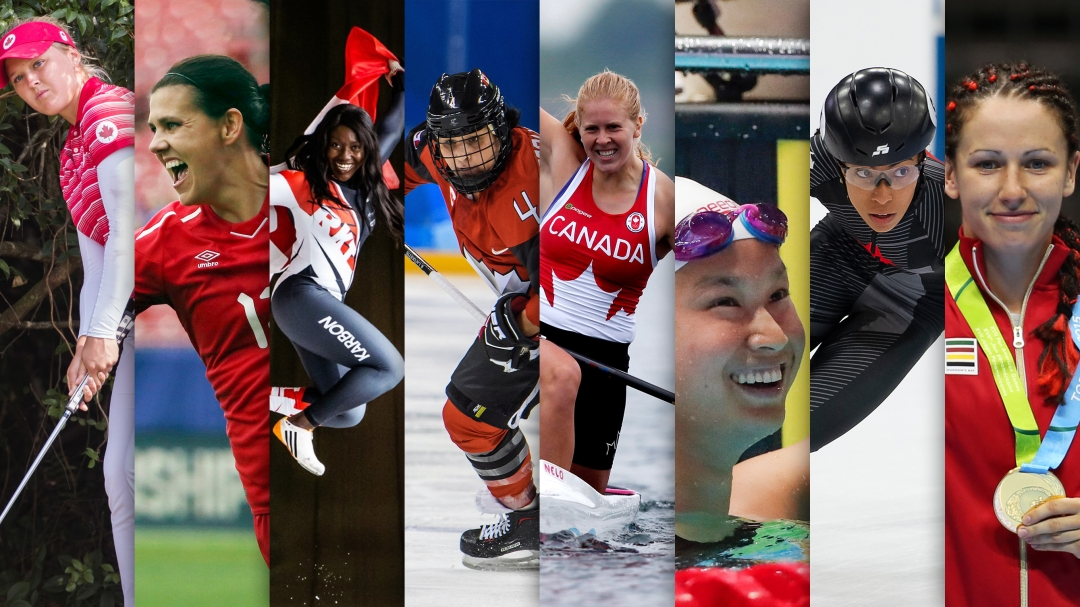 Collage of Team Canada women athletes
