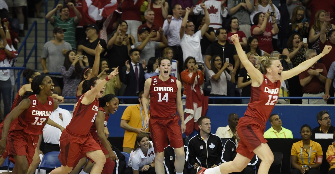 Team Canada women's basketball team celebrates