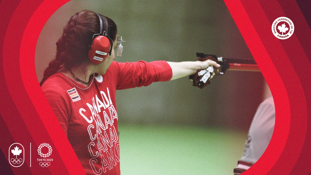 Pistol shooter aiming with back to camera