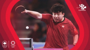 Graphic of table tennis player hitting ball