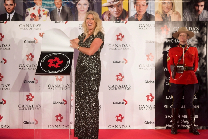Silken Laumann unveils her plaque as she is inducted into Canada's Walk of Fame during an event in Toronto on Saturday November 7, 2015.