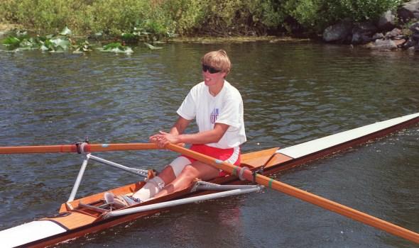 Rower Silken Laumann trains at the Victoria City Rowing Club June 17, 1992.
