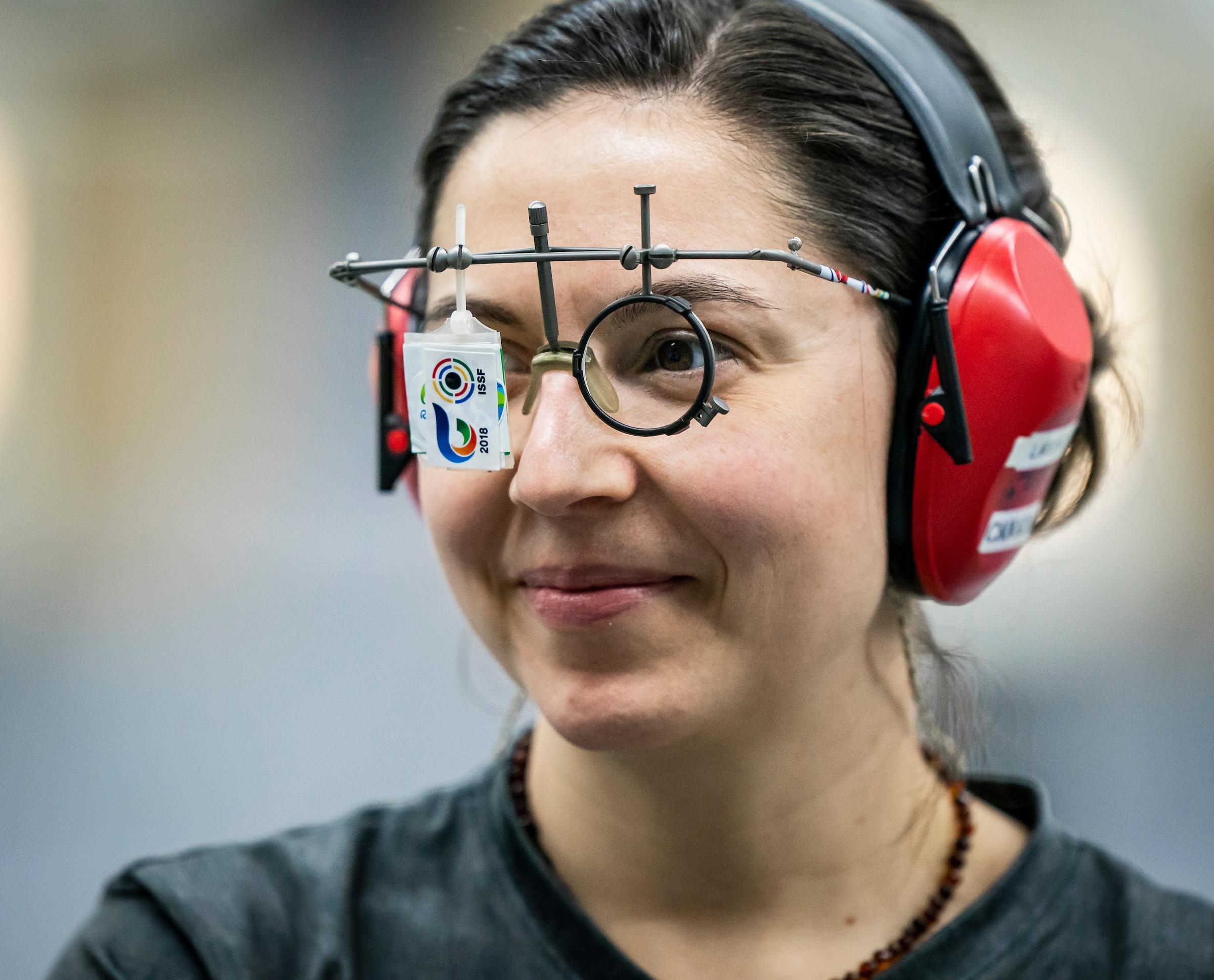 Lynda Kiejko close up while wearing her shooting glasses