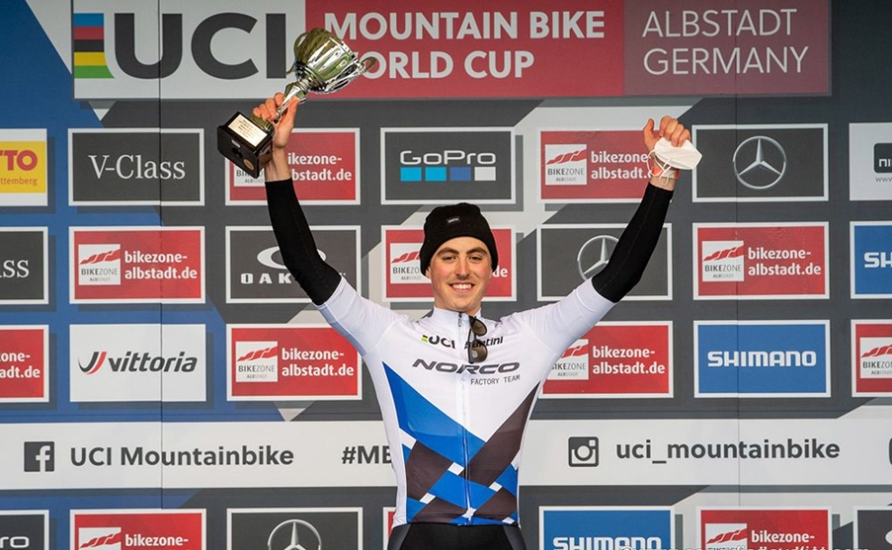 Carter Woods wins gold in the U23 (XCO) event at the UCI Mountain Bike World Cup on Saturday May 8, 2021. Photo by: Armin M. Kustenbruck / EGO Promotion