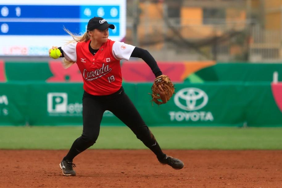 Emma Entzminger prepares to throw the ball