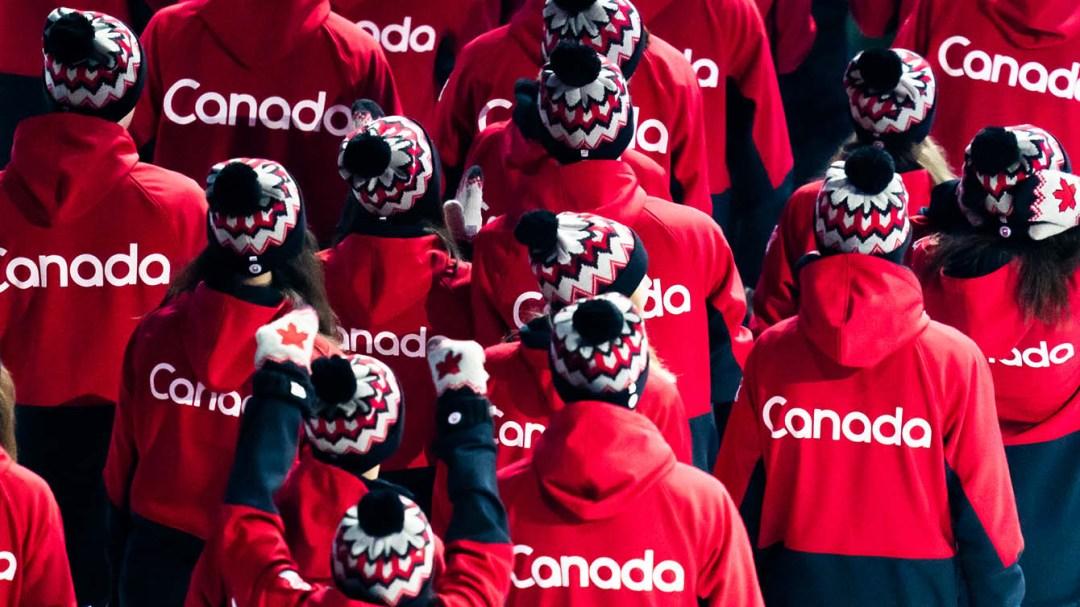 Athletes walking in Team Canada gear