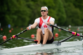 In the men's single sculls (M1x) final, Canada's Trevor Jones finished second with a time of 7:01.48 to secure another qualification to Tokyo 2020 on Sunday Mya 16, 2021. Photo by: Rowing Canada.