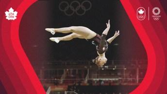Ellie Black doing a backflip on beam