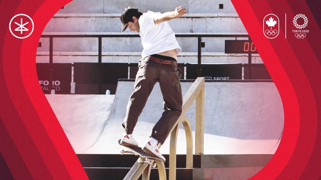 Matt Berger rides a rail on his skateboard