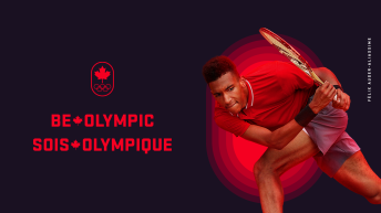 A cutout image of Félix crouching down, bending his knee during a match. Be Olympic Sois Olympique on the left side.