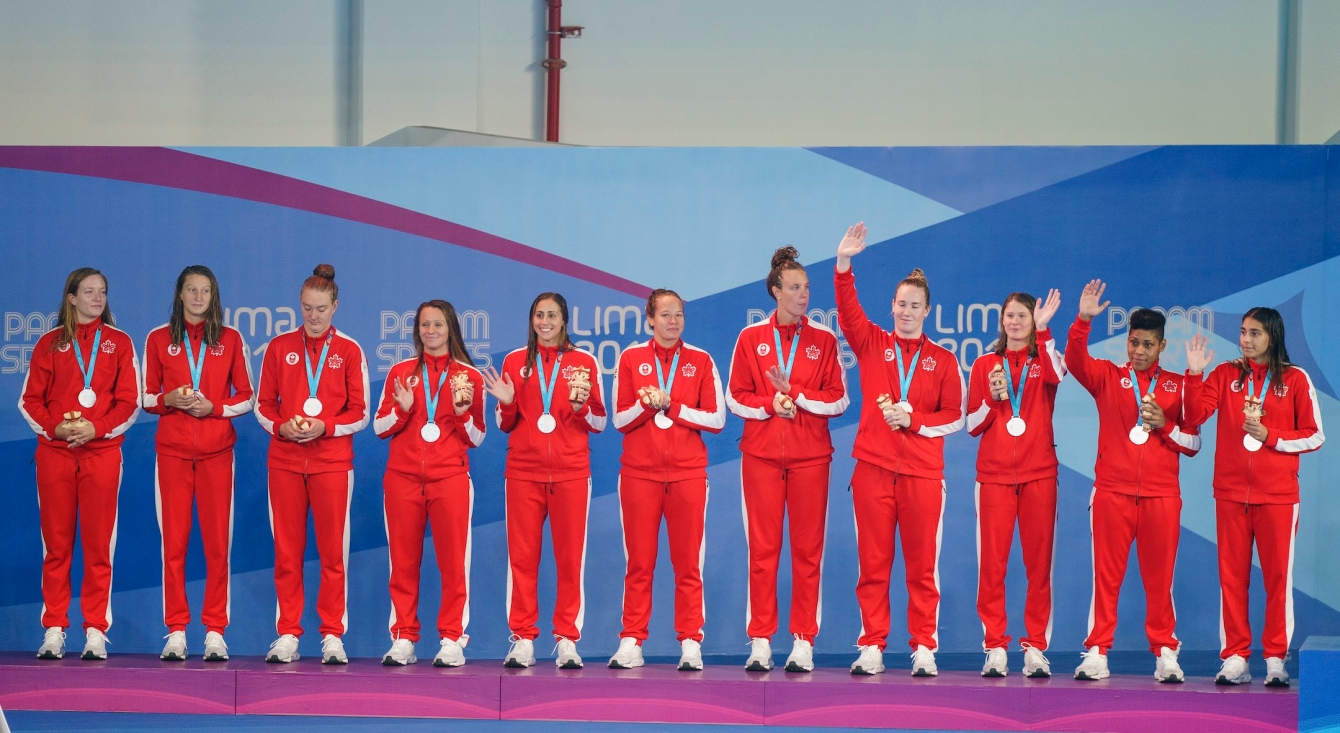 Canada takes the silver medal in women's water polo final at the Lima Pan American Games on Saturday, Aug. 10, 2019. THE CANADIAN PRESS/HO-COC, Dave Holland, *MANDATORY CREDIT*