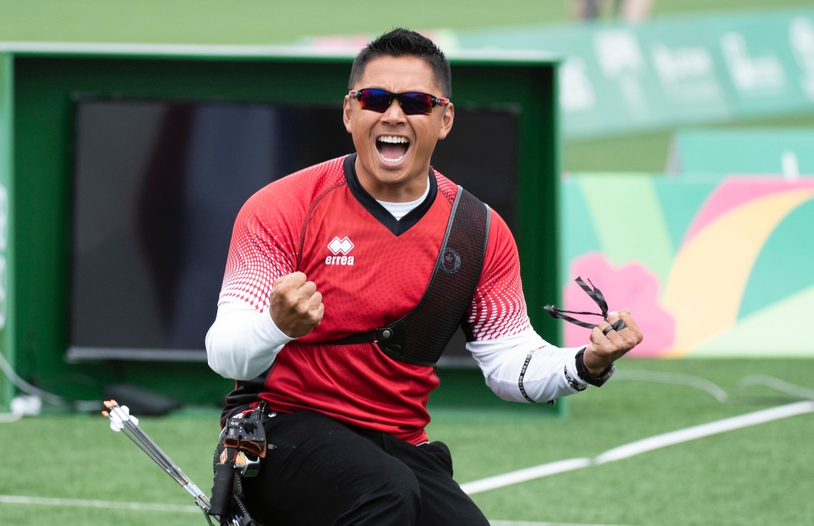 Crispin Duenas of Canada competes in the men's recurve final at the Lima 2019 Pan American Games on Sunday, August 11, 2019. THE CANADIAN PRESS/HO, COC, Christopher Morris *MANDATORY CREDIT*