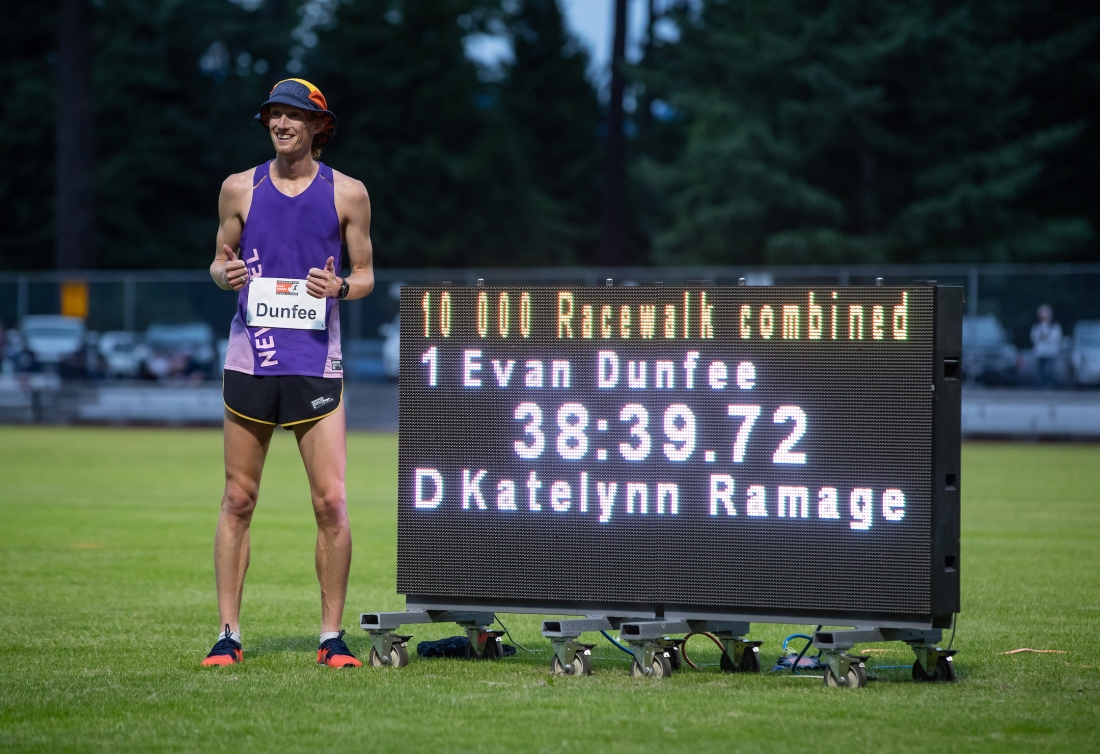 Evan Dunfee, of Richmond, B.C., races to a new Canadian record of 38:39.72 in the 10,000 metre race walk event during the Harry Jerome International Track Classic, in Burnaby, B.C.