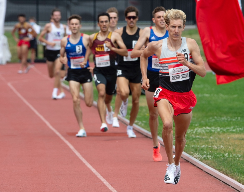 Charles Philibert-Thiboutot heads to the the finish line to win the Men's 1500m final, but failing to meet the Olympic standard, Sunday, June 27, 2021 at the Canadian Track and Field Olympic trials in Montreal. THE CANADIAN PRESS/Ryan Remiorz