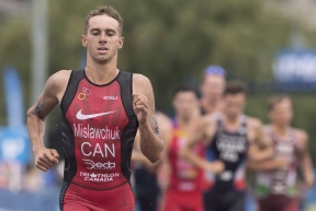 Tyler Mislawchuk of Canada competes during the ITU World Triathlon Series race in Montreal, Sunday, August 26, 2018. Tyler Mislawchuk became the first Canadian man to win a World Triathlon Series race when he claimed gold in an Olympic test event on Friday.The 23-year-old from Oak Bluff, Man., completed the race in one hour 49 minutes and 51 seconds, four seconds ahead of second-place finisher Casper Stornes of Norway.