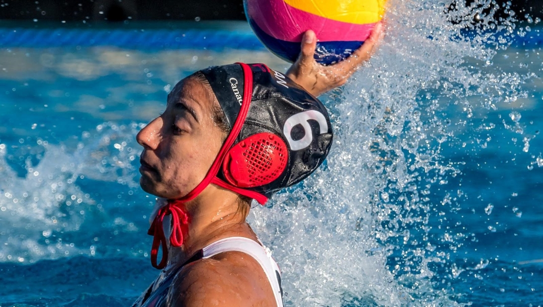 Water polo player ready to throw ball