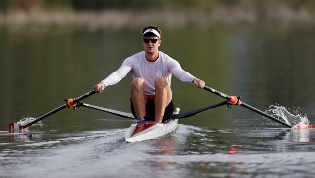 Trevor Jones rows in his single scull