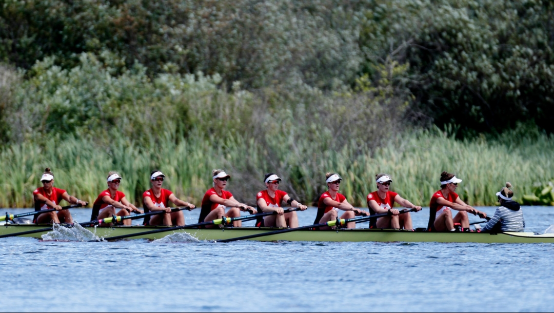 Women's eight boat on the water